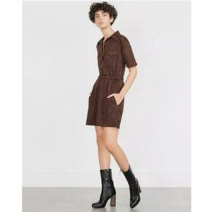 Zara Belted Suede Mini Dress With Pockets Brown.